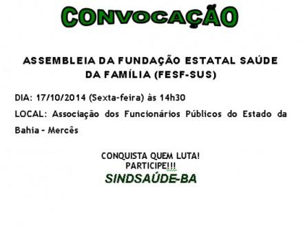 CARTAZ CONVOCAÇÃO FESF